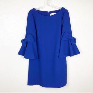 Eliza J Bow Bell Sleeve Cobalt Blue Shift Dress 6